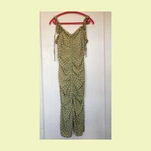 Lulu's Sage Green Polka Midi Dress
